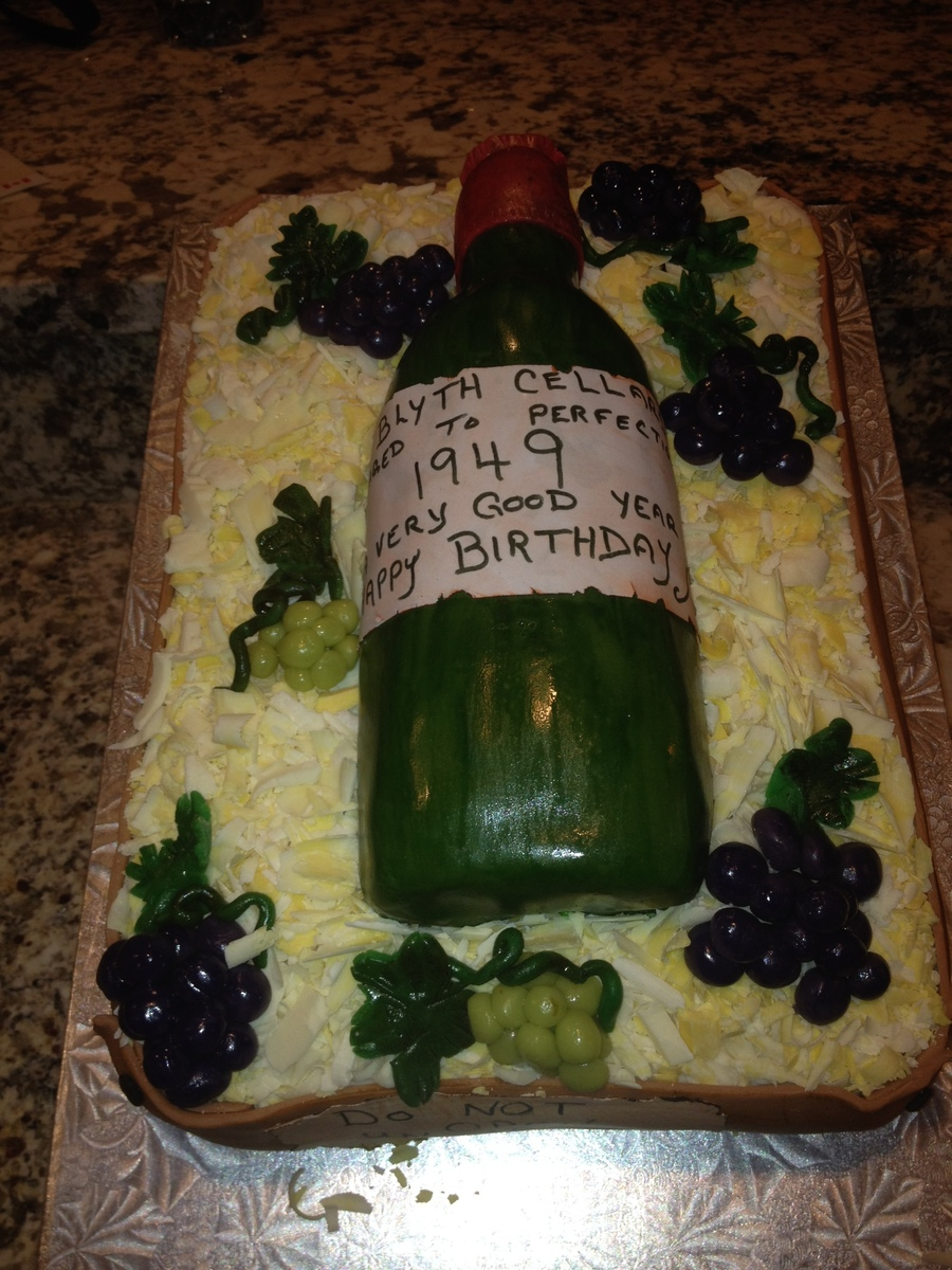 My Husbands 65Th Birthday Cake Straw Is White Chocolate And The Grapes Are Marzipan Wine Bottle