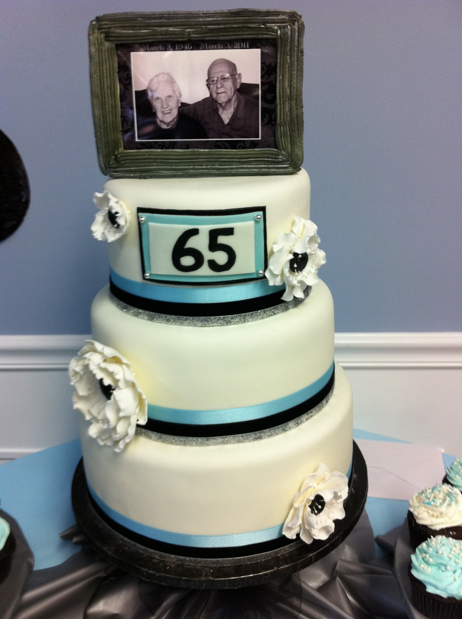 I Made This Cake For My Grandparents 65th Anniversary Party. The Cakes Are  Covered In Fondant. Flowers Are Gumpaste. Picture Frame Topper Is Made Out  Of ...
