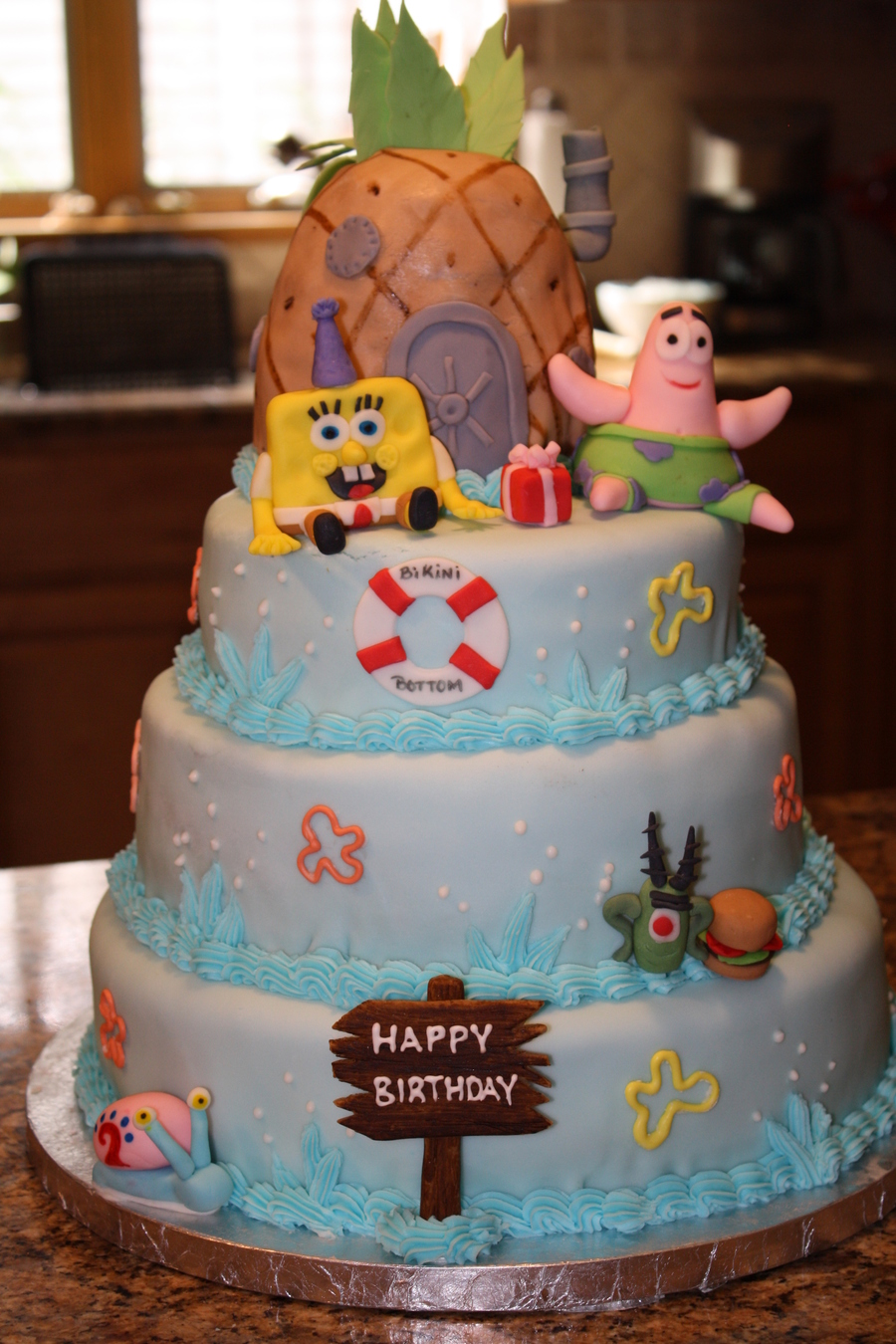 Wondrous Spongebob Bikini Bottom Birthday Cake Cakecentral Com Funny Birthday Cards Online Kookostrdamsfinfo
