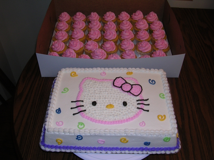 Hello Kitty Sheet Cake And Cupcakes on Cake Central
