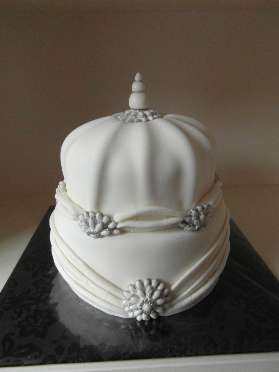 White Shaped Wedding Cake on Cake Central