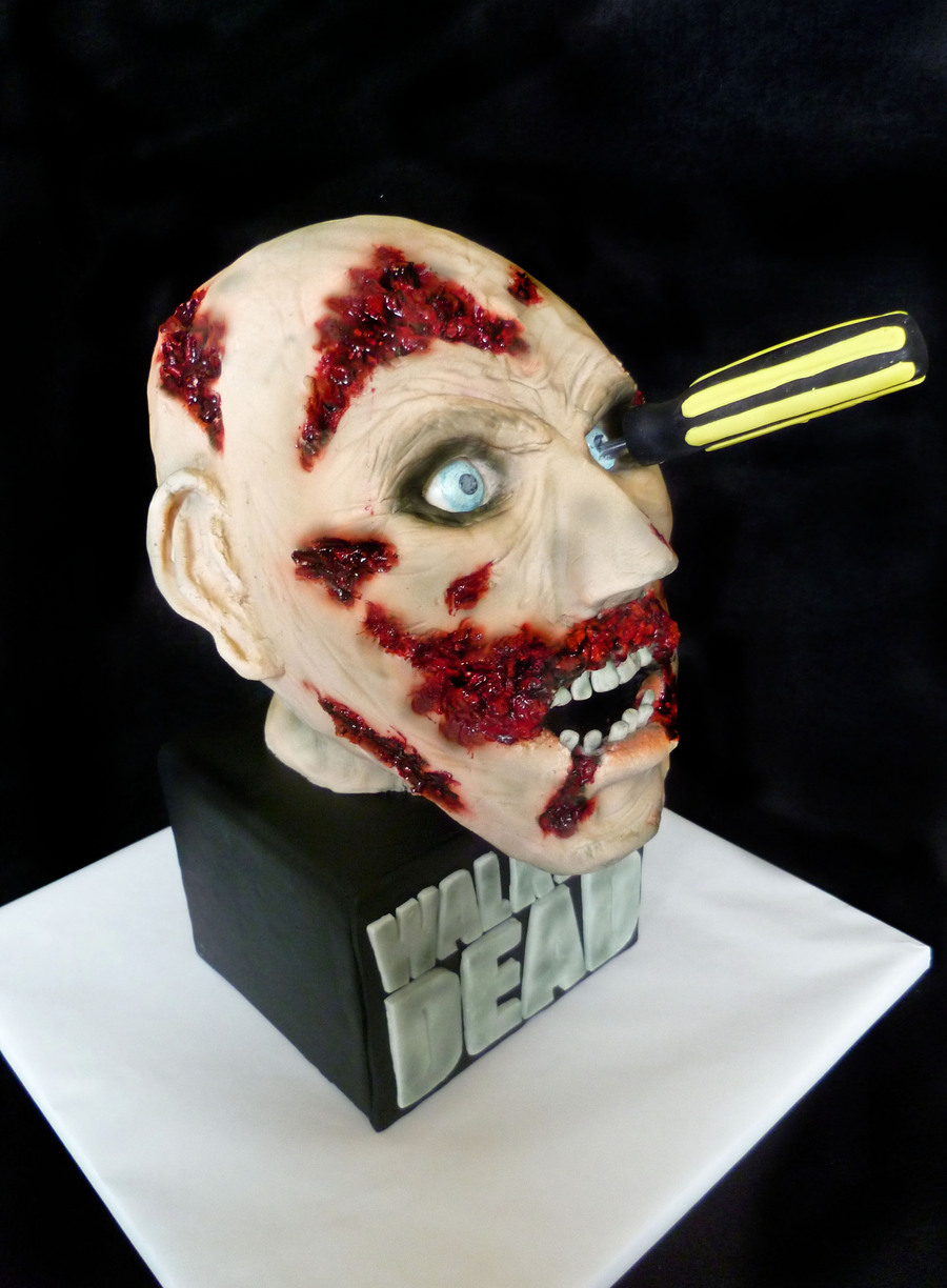 Amc Walking Dead Zombie Head Cake Halloween CakeCentralcom