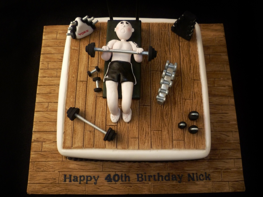 Men S 40th Birthday Weightlifter Cake Cakecentral Com