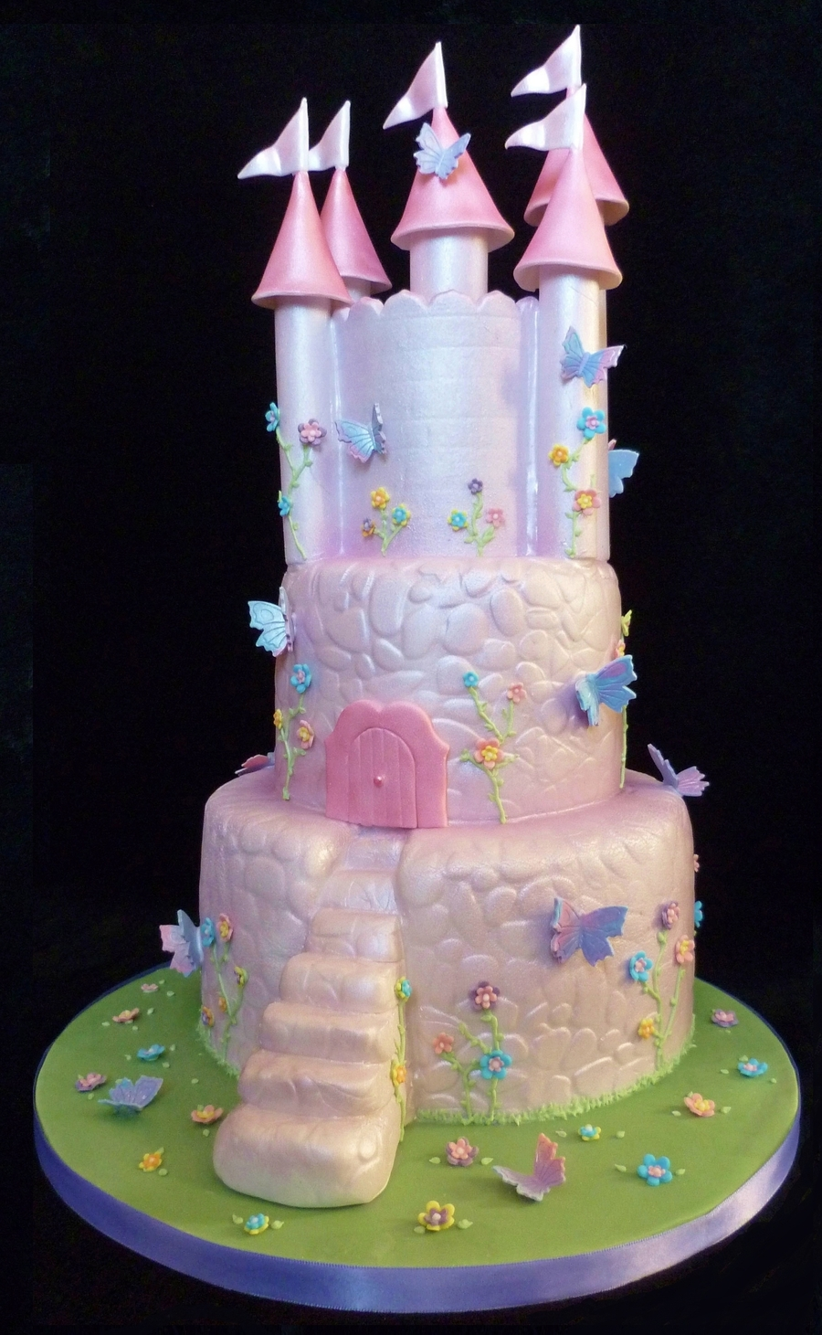 Butterfly Fairytale Castle Cake  on Cake Central