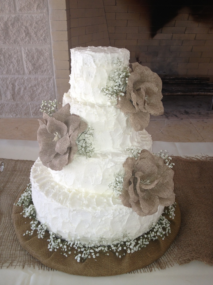 burlap and lace wedding cake table burlap themed wedding cake cakecentral 12253