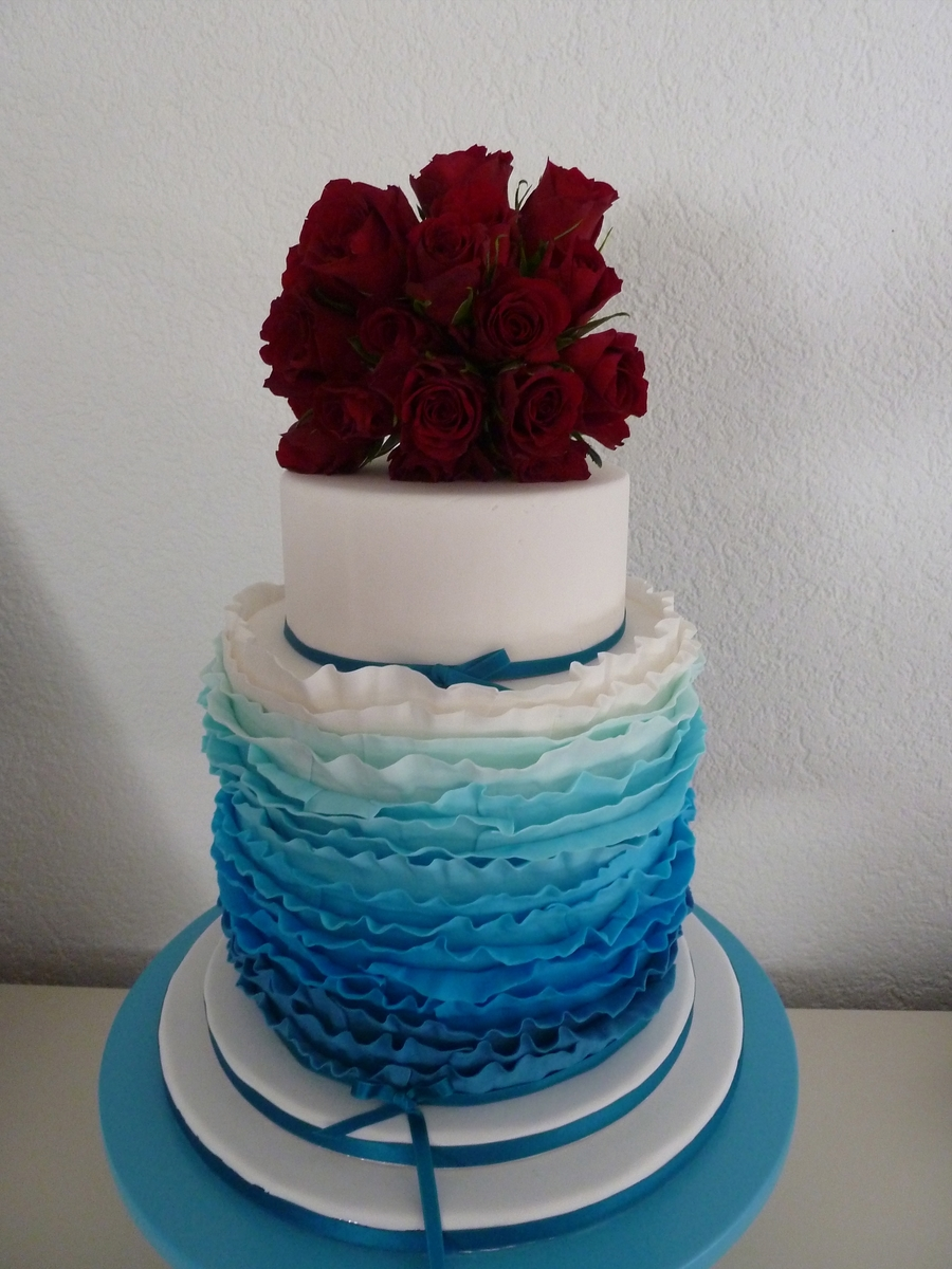 Ruffled Weeding Cake With Real Roses on Cake Central