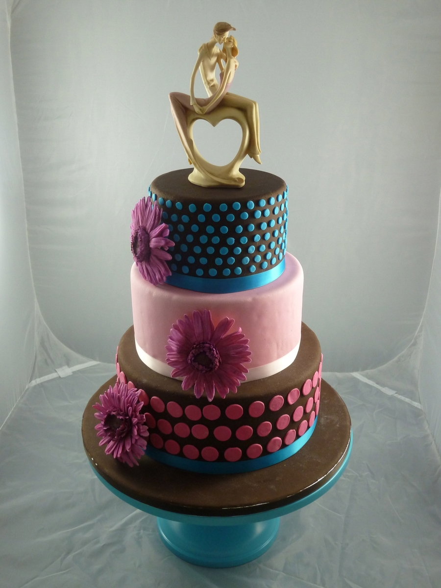 Wedding Cake With Dots And Gerbara on Cake Central