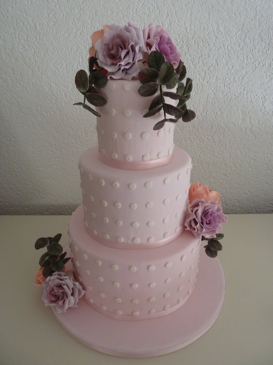 Wedding Cake With Sugar Flowers on Cake Central