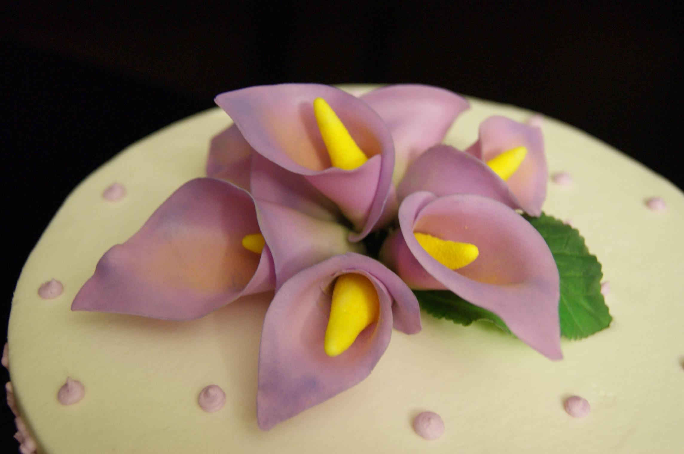 Mauve Calla Lily Birthday Cake CakeCentralcom