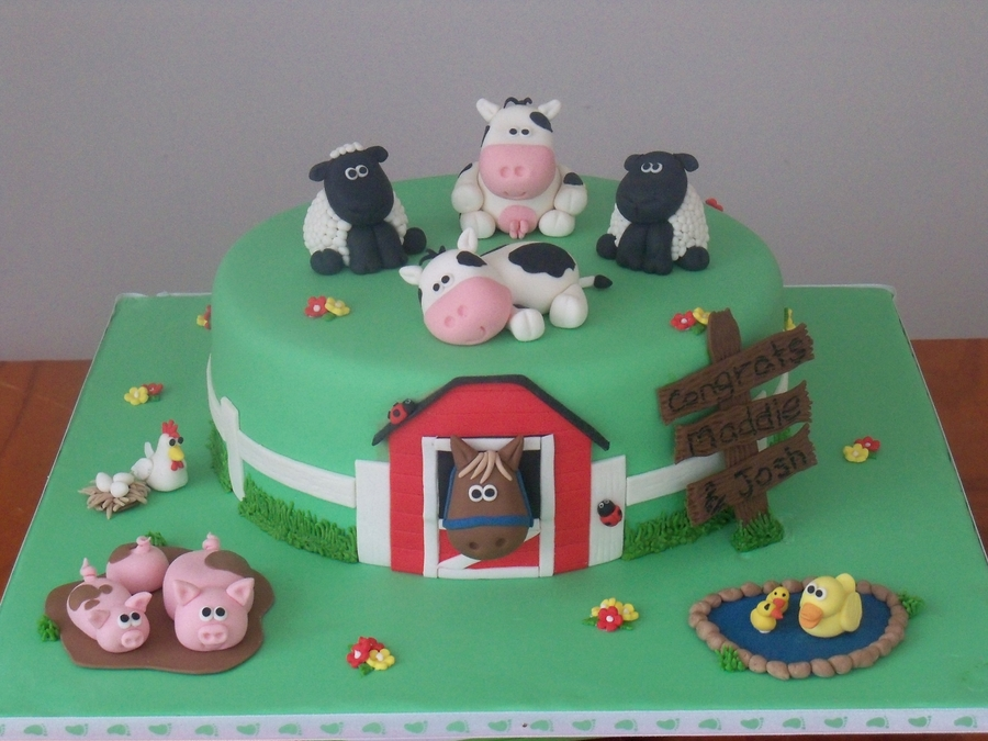 Farmyard Baby Shower Cake on Cake Central