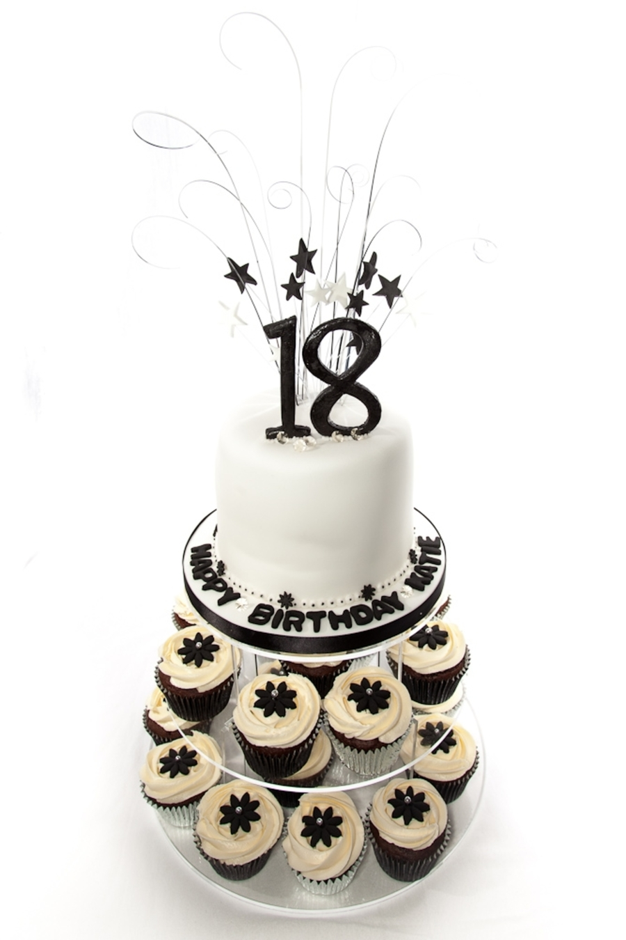 Black and white 18th birthday cake cupcake tower for 18th birthday cake decoration