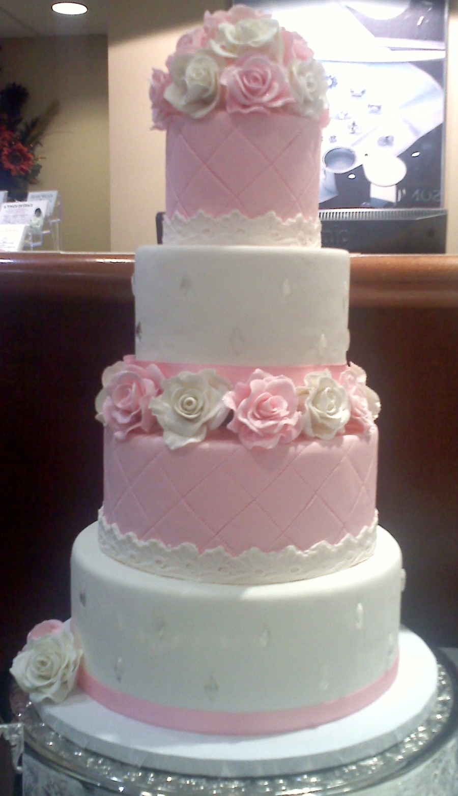 Pink And White Rose Wedding Cake on Cake Central