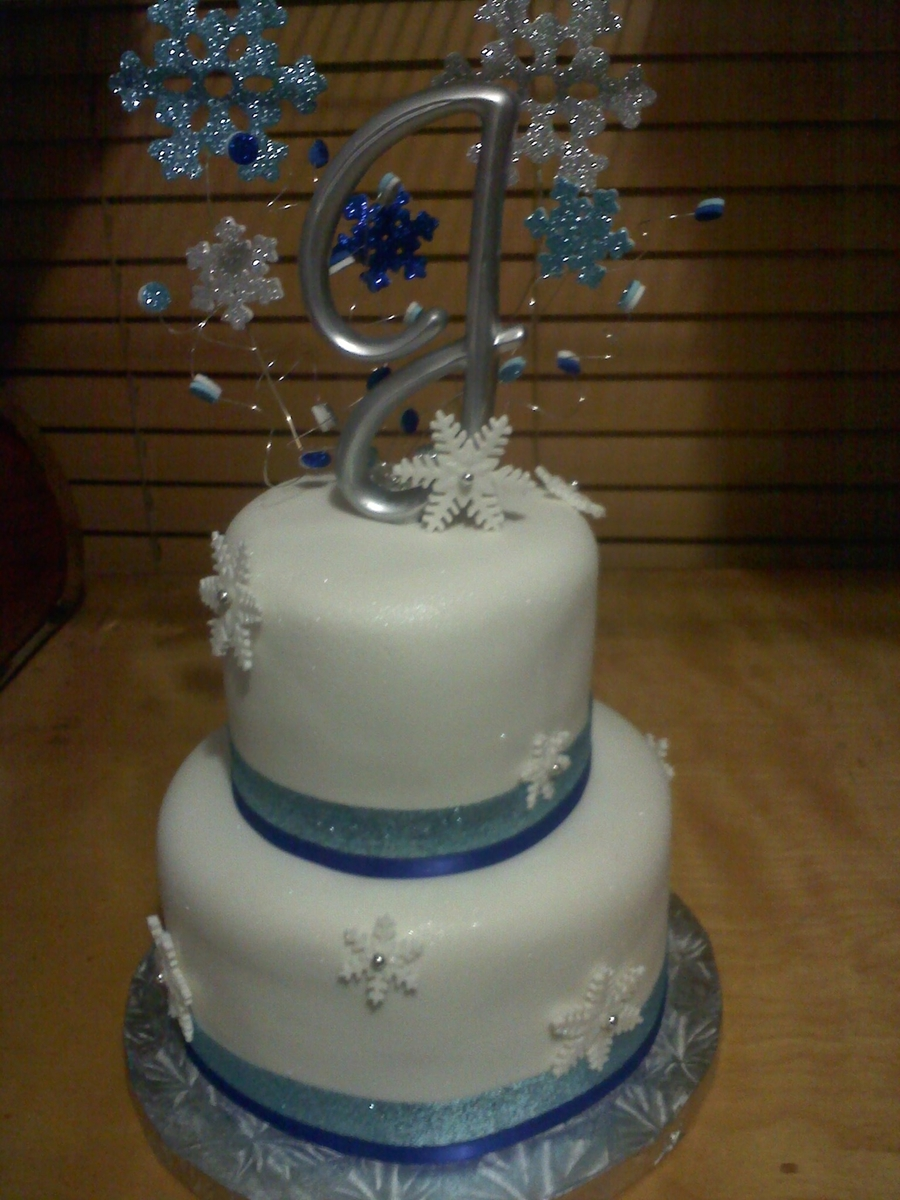 Mini Winter Wedding Cake  on Cake Central
