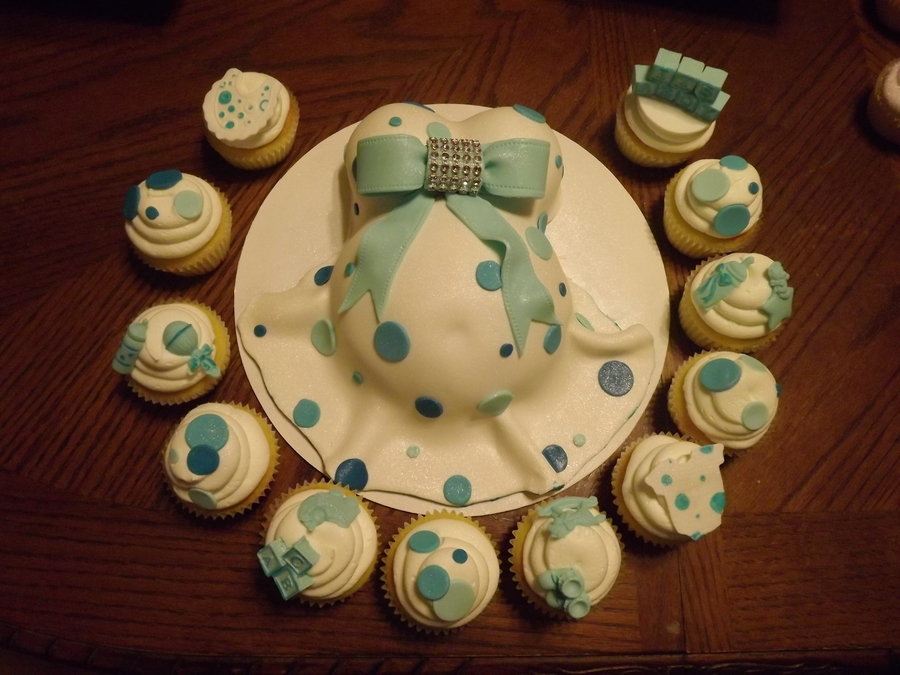 Mini Baby Belly With Matching Cupcakes on Cake Central