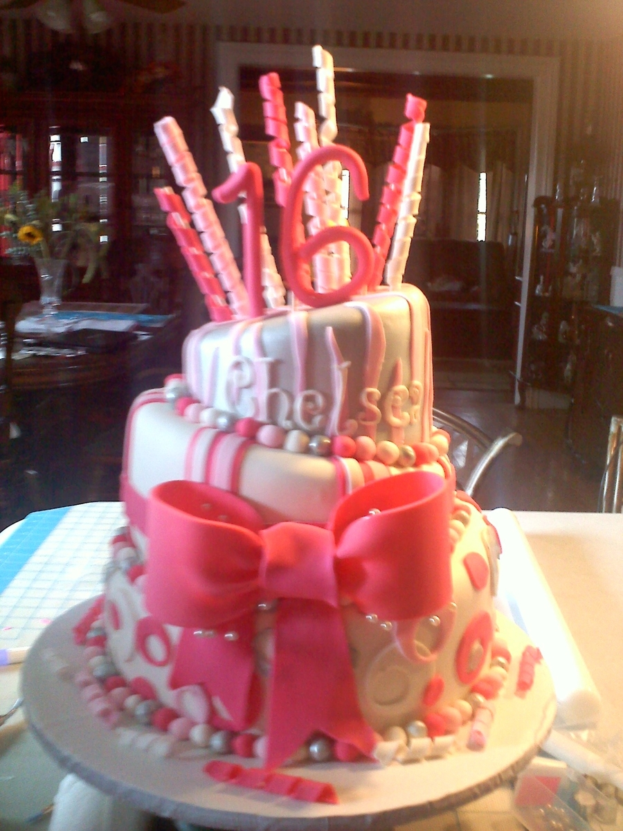 Sweet 16 Topsy Turvy Cake on Cake Central