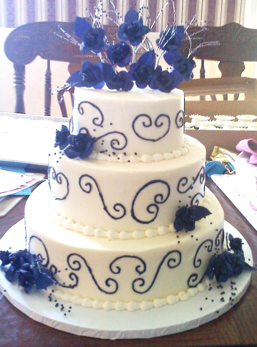 Blue And Whte Wedding Cake on Cake Central