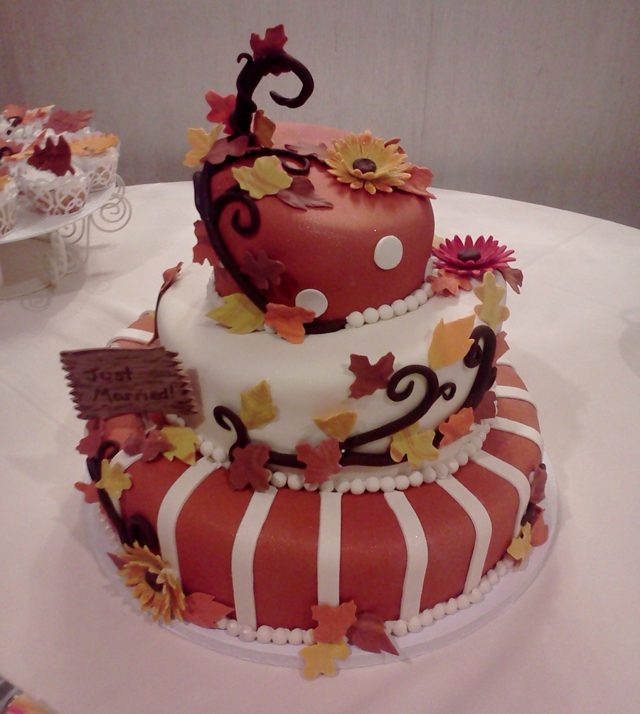 Fall Topsy Turvy Wedding Cake on Cake Central