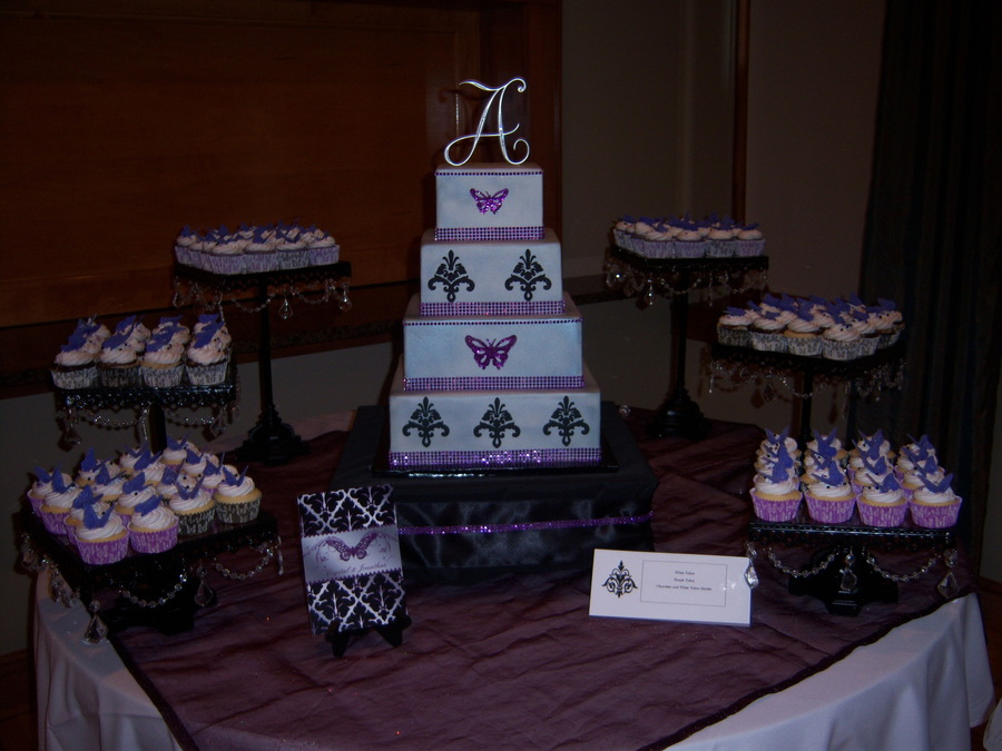 4 Tier Square Dummy Cake Designed To Match Their Invitations 3 Flavors Of Cupcakes With Fondant Butterfly Toppers Colors Where Silver Pur on Cake Central
