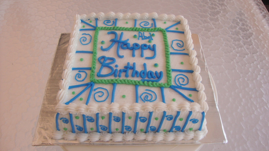 Blue And Green Swirl Birthday Cake  on Cake Central
