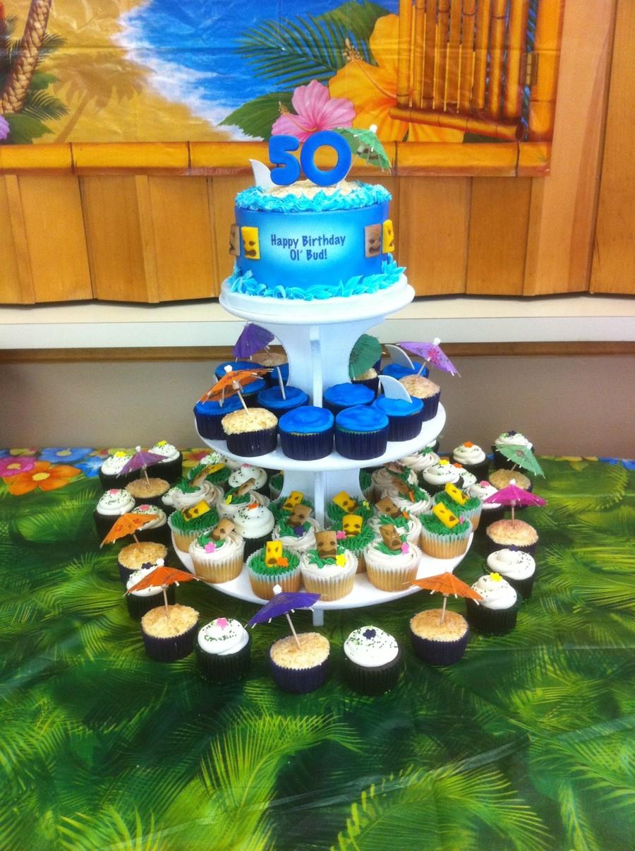 luau theme 50th birthday cupcake stand cakecentral com