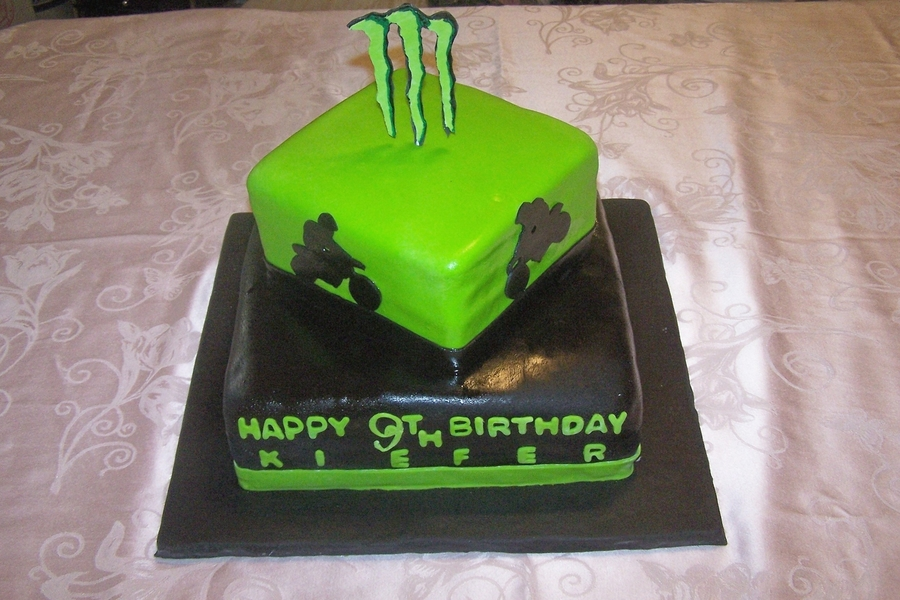 Dirt Bike & Monster M Birthday Cake on Cake Central