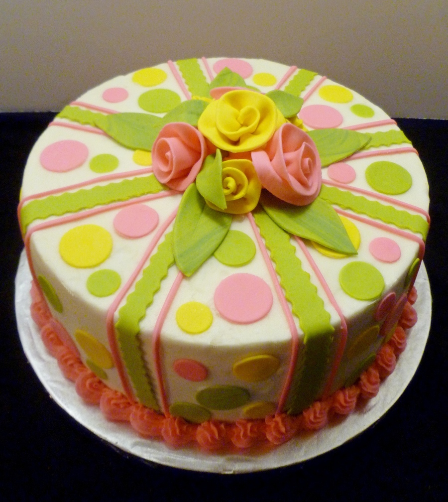 Polka Dots And Flowers Birthday Cake on Cake Central