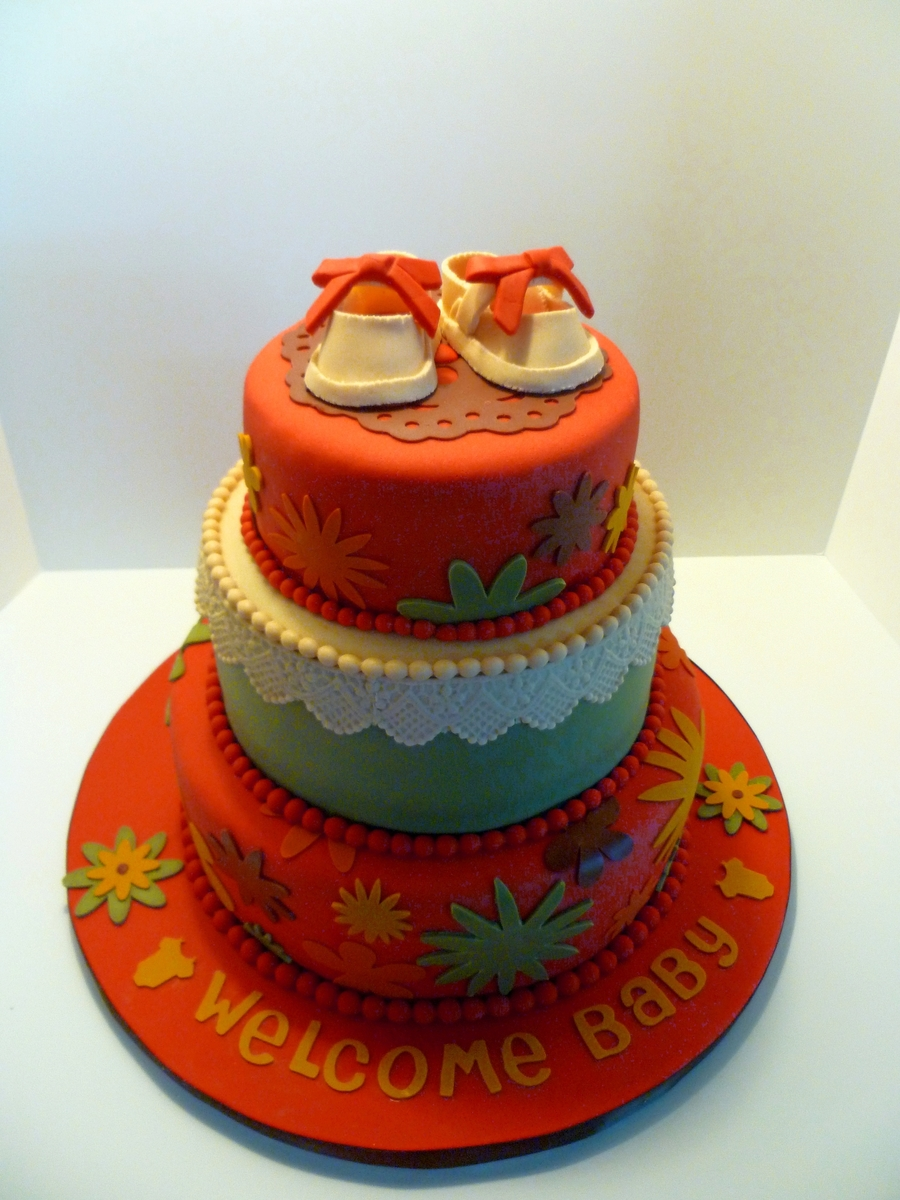 Retro Flower Baby Shower Cake on Cake Central