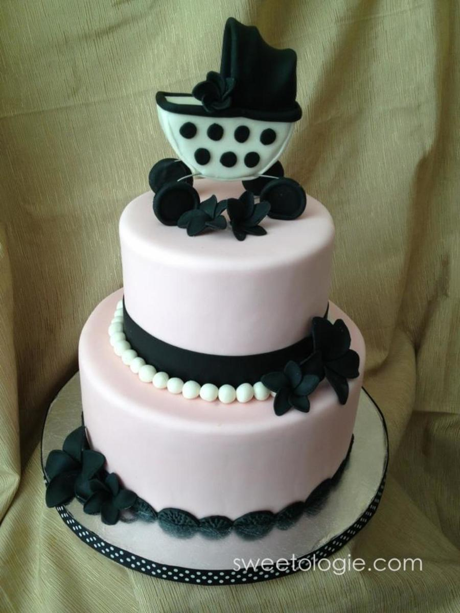 Chic Pink Ivory And Black Baby Shower Cake 69 Cake Swiss Meringue
