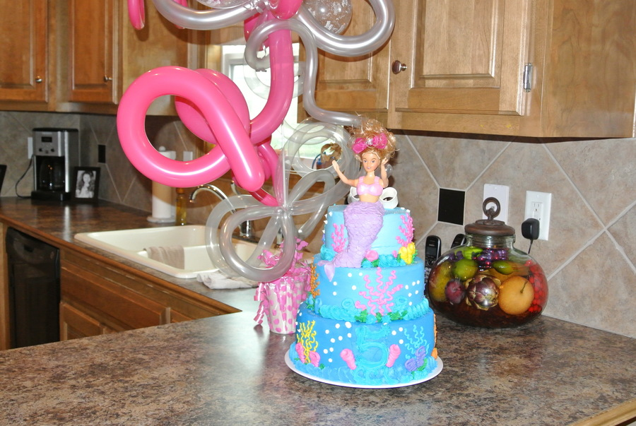 Barbie Mermaid On A Tiered Cake Cakecentral Com