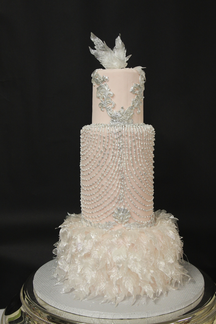 Art deco wedding cake designed from a wedding dress for Art deco cake decoration