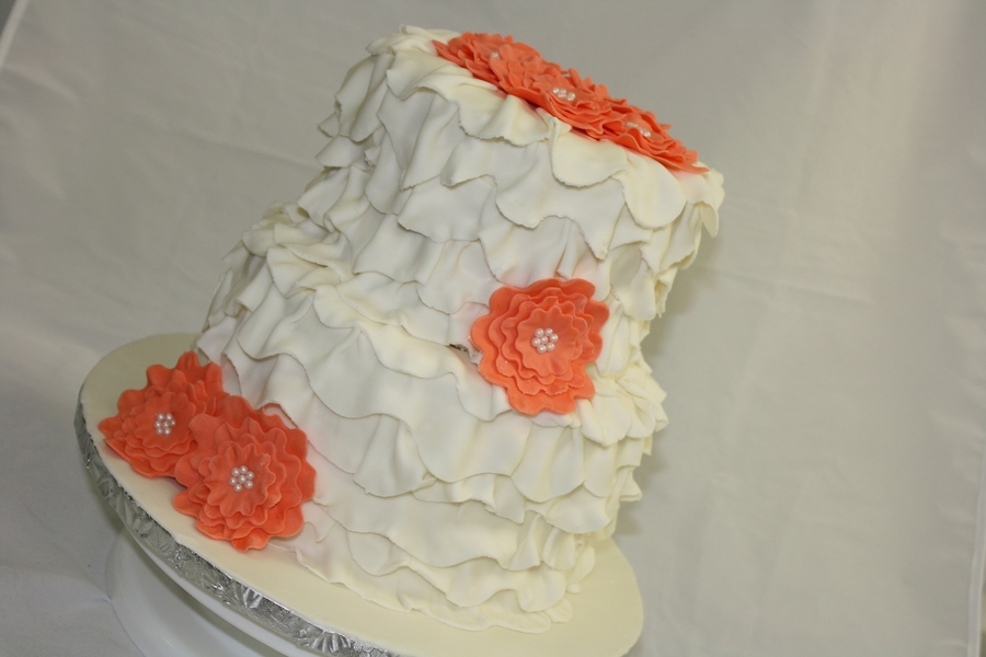 Coral Flower Ruffled Wedding Cake on Cake Central