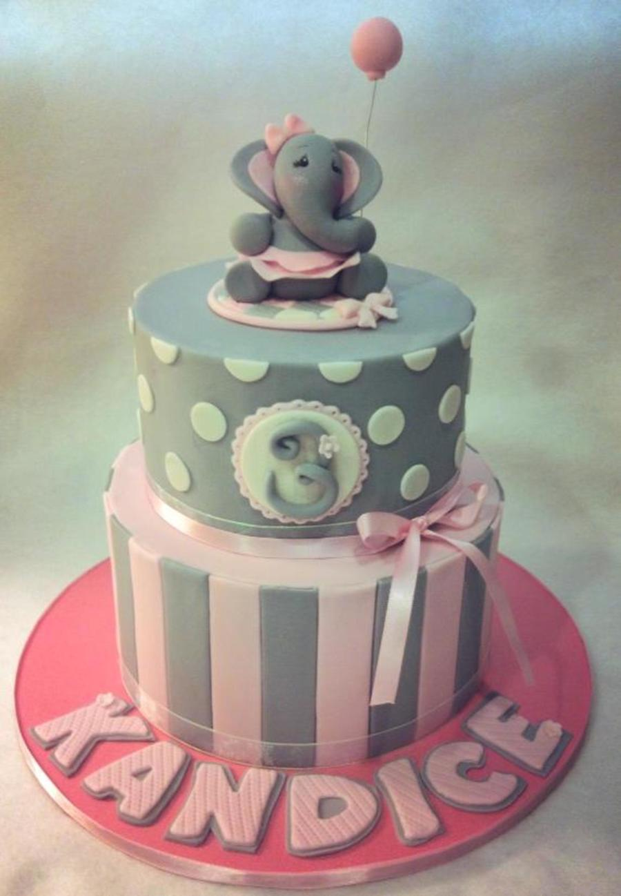 Incredible Grey And Pink Elephant Themed Cake Cakecentral Com Birthday Cards Printable Trancafe Filternl