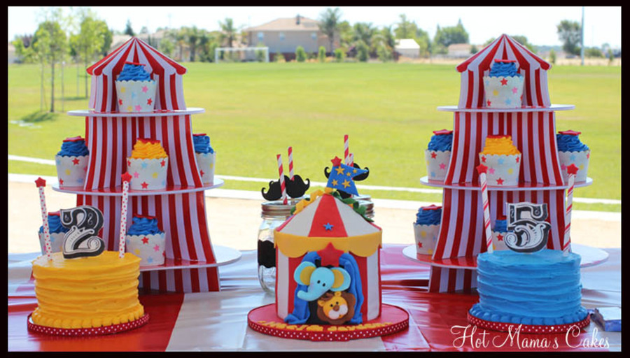 Circus Tent cake with matching cupcakes and an inidual cake for brother and sister ) I used an edible frosting sheet for the numbered toppers.  sc 1 st  Cake Central & Circus Time! - CakeCentral.com