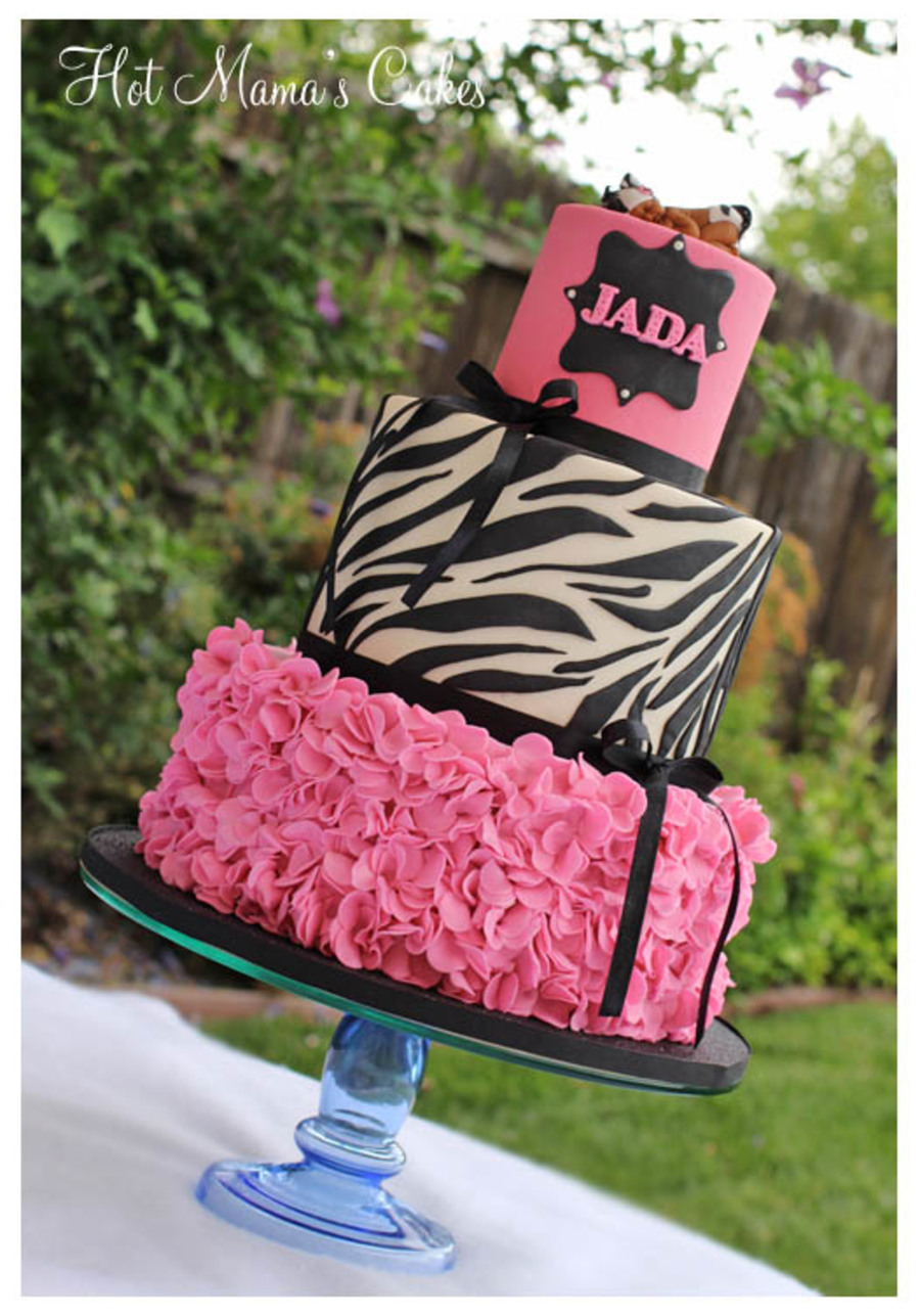 Pink And Zebra Print Ruffles Baby Shower Cakecentral Com