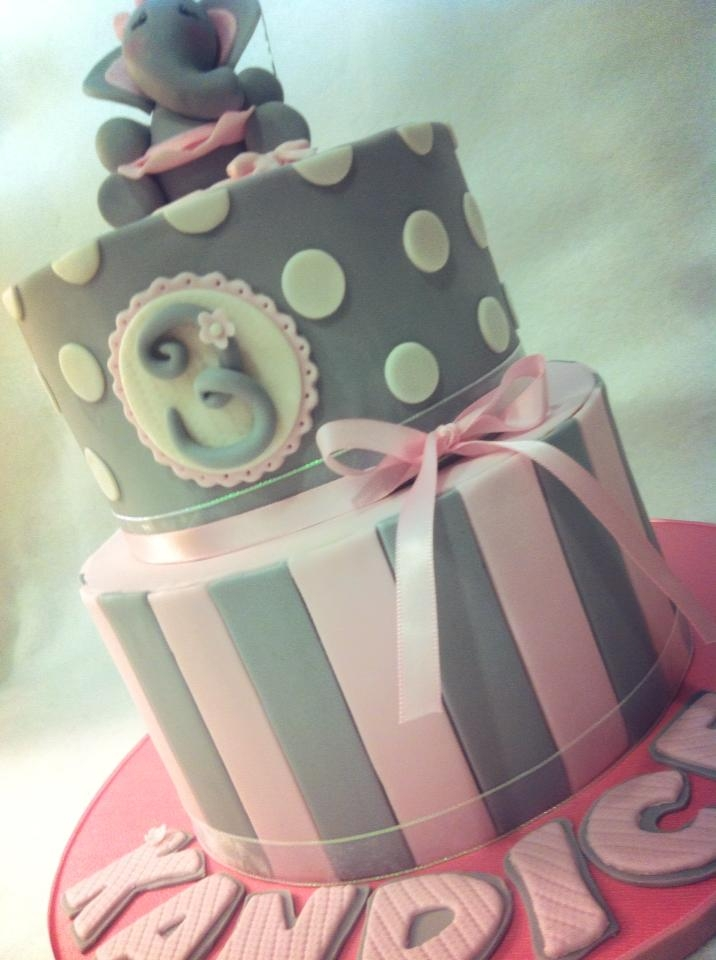Grey And Pink Elephant Themed Cake CakeCentralcom