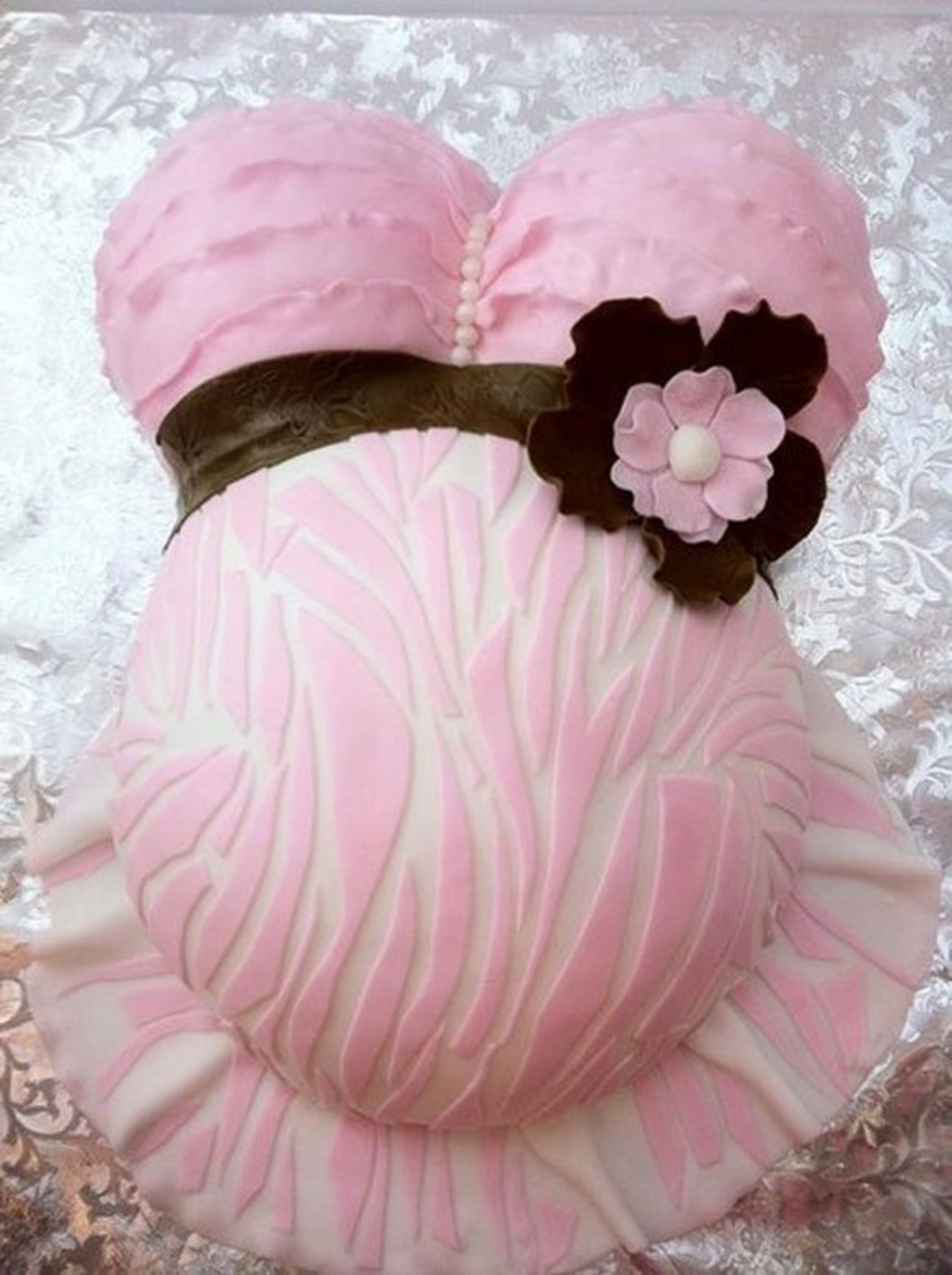 Ruffled Pink Zebra Belly Cake on Cake Central