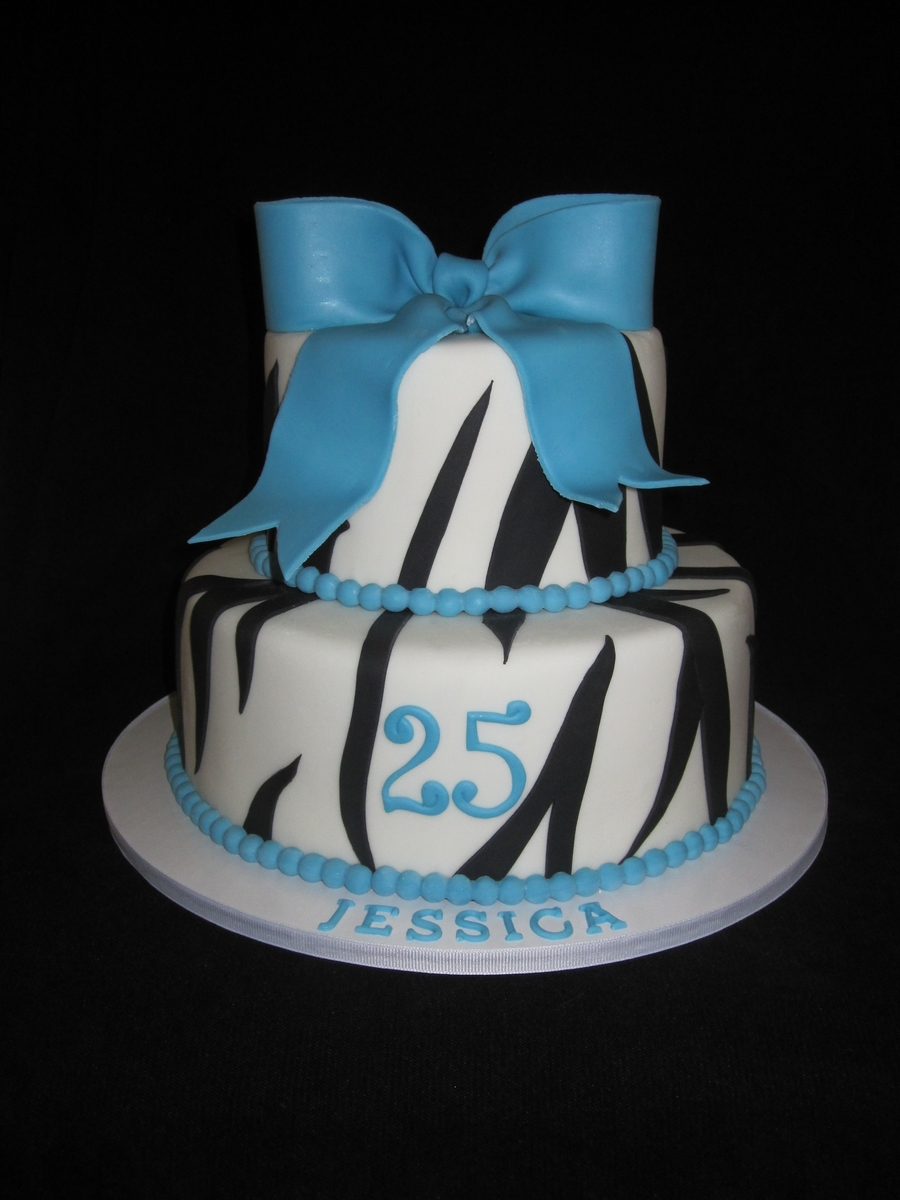 Zebra Teal Cake With Bow on Cake Central