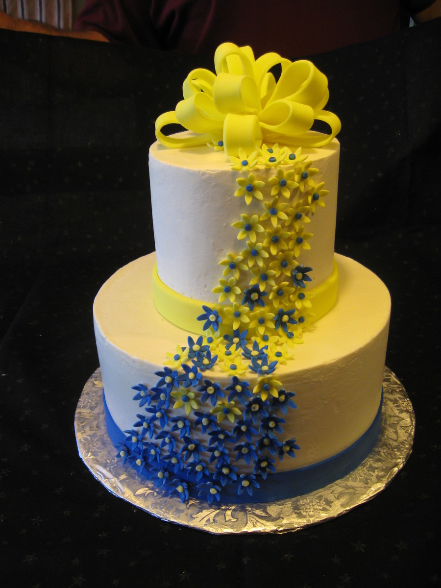 Yellow And Blue Wedding on Cake Central