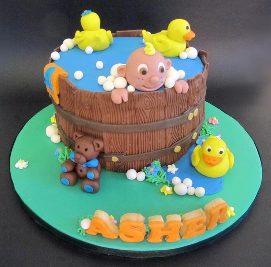 Baby In Bath Tub on Cake Central