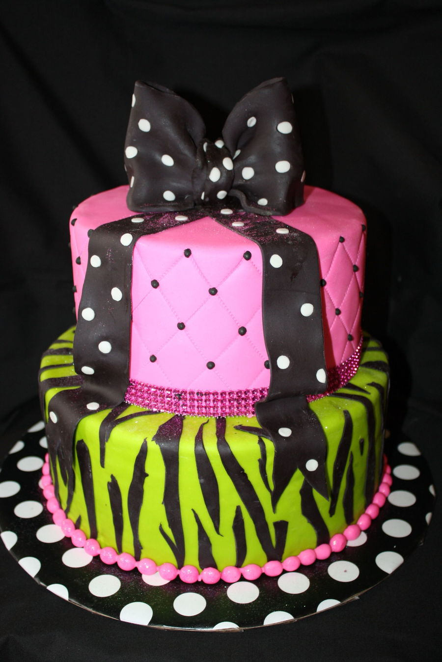 Birthday Cake For The Lady Who Turned 50 Love Neon Color Bow Was Made