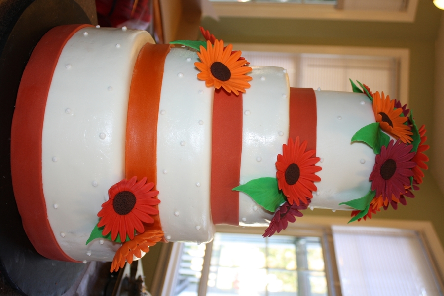 Fall Daisy Wedding Cake  on Cake Central