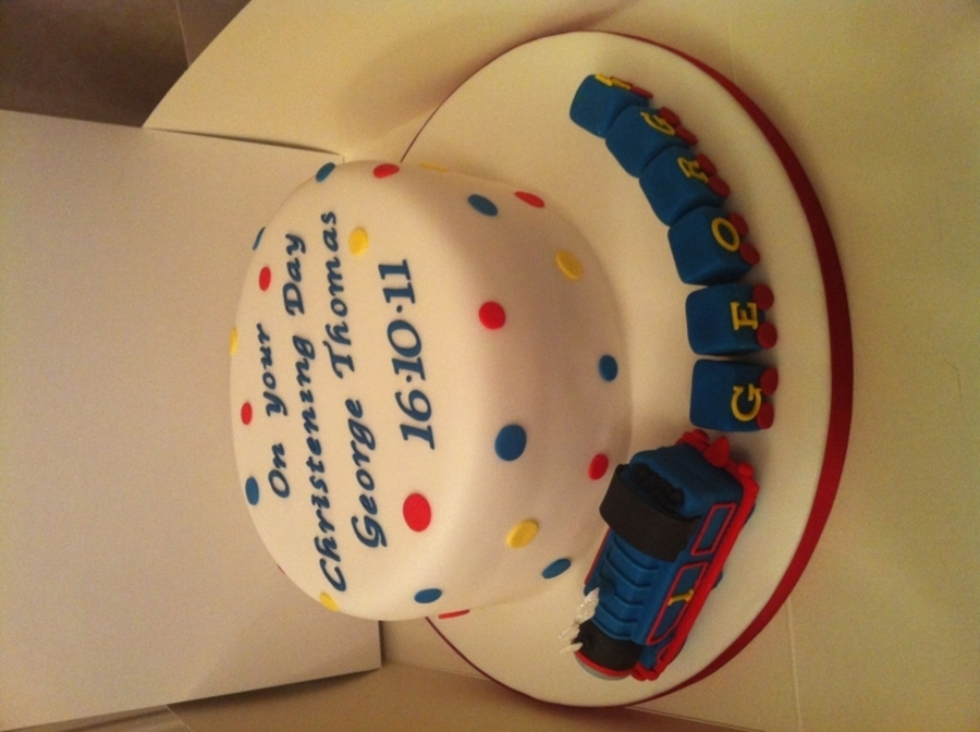 Thomas Tank Engine Christening Cake on Cake Central