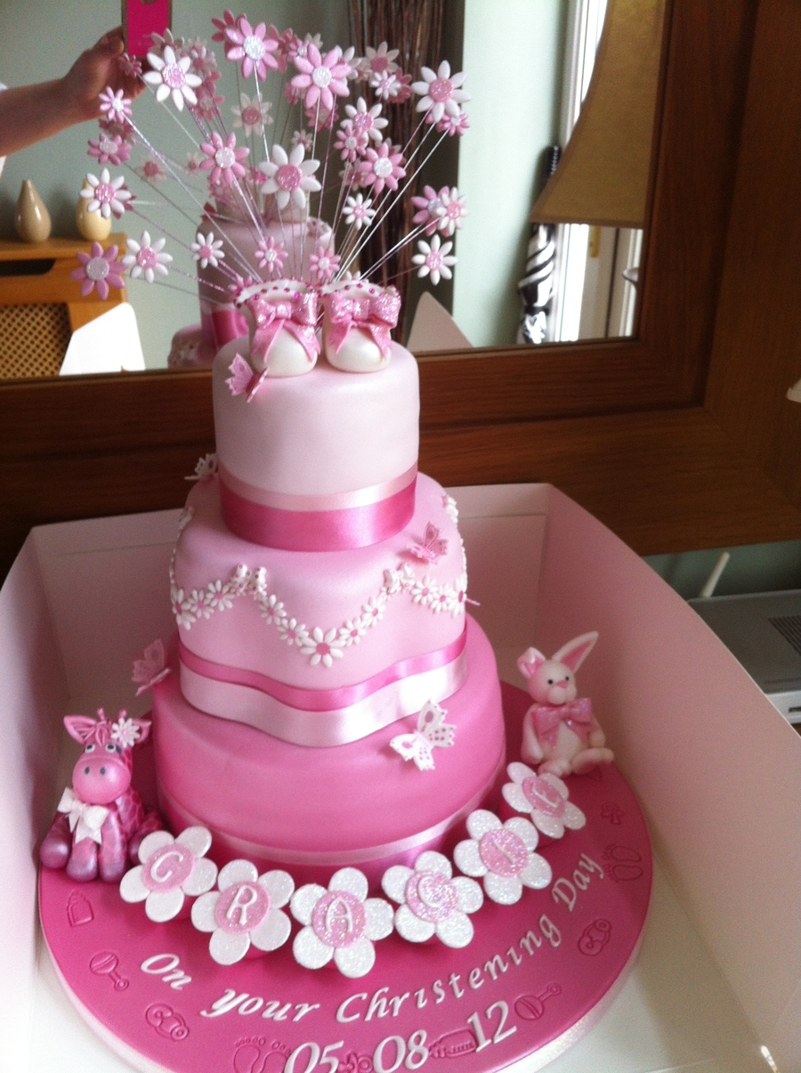 Girls Christening Cake With Giraffe And Rabbit on Cake Central