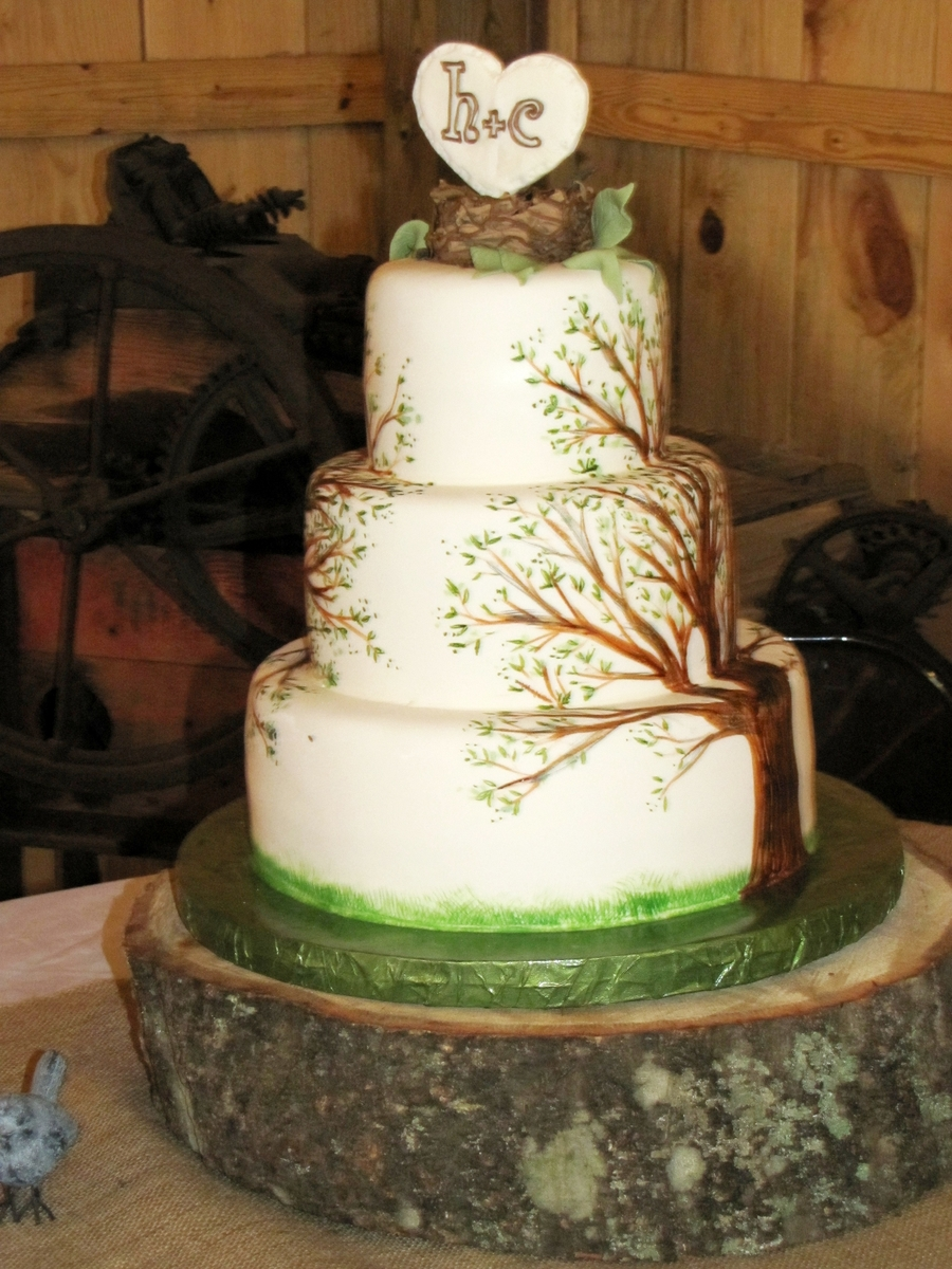 Painted Tree Cake on Cake Central