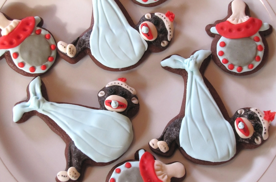 Baby Sock Monkey Cookies  on Cake Central