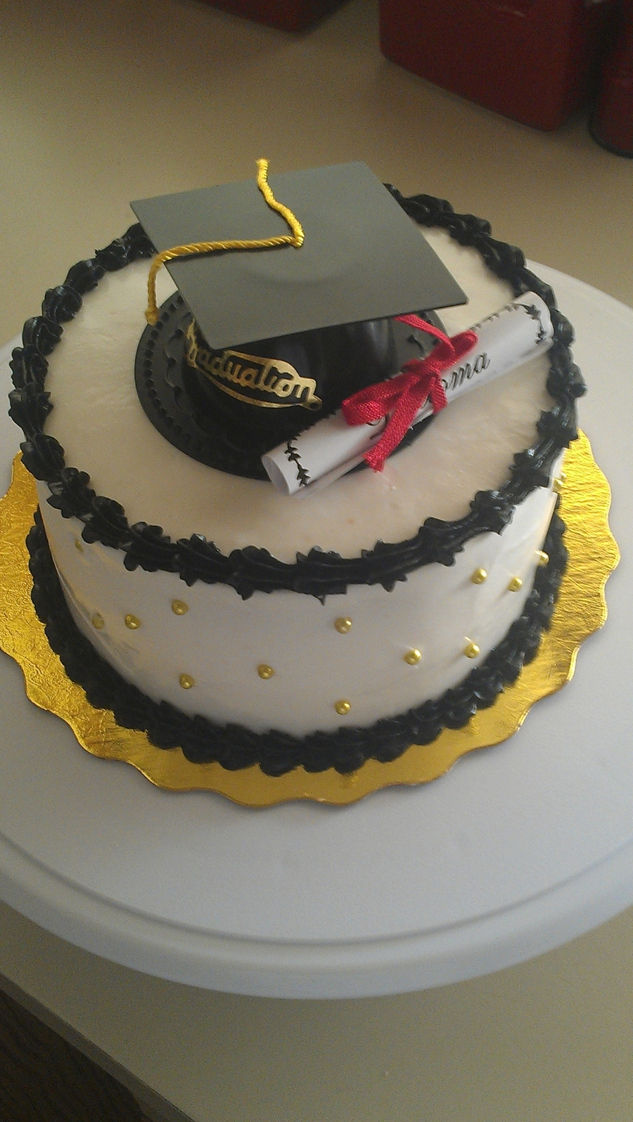Black And Gold Graduation Cake on Cake Central