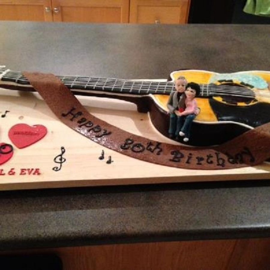 80Th Birthday And 60Th Anniversary Guitar Cake on Cake Central