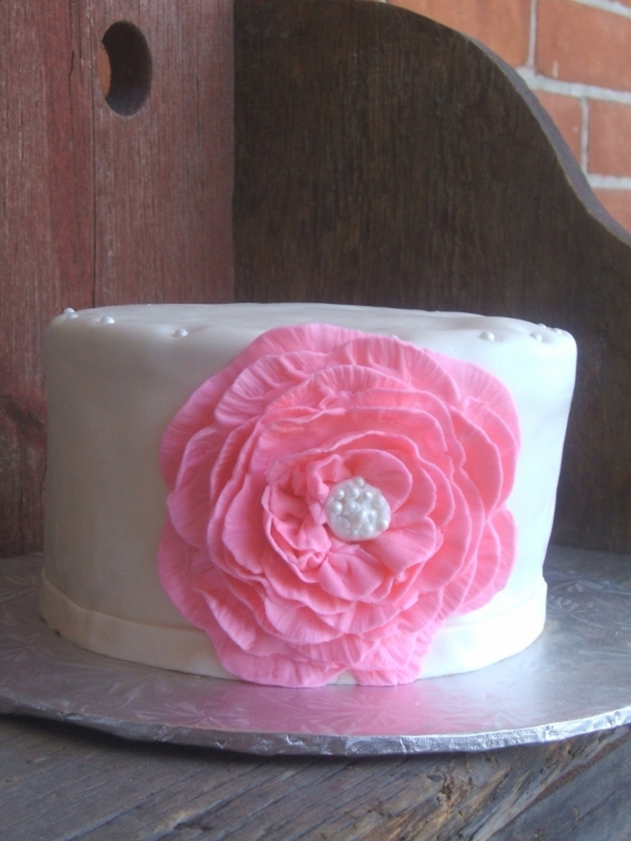 Ruffle Flower Birthday Cake on Cake Central