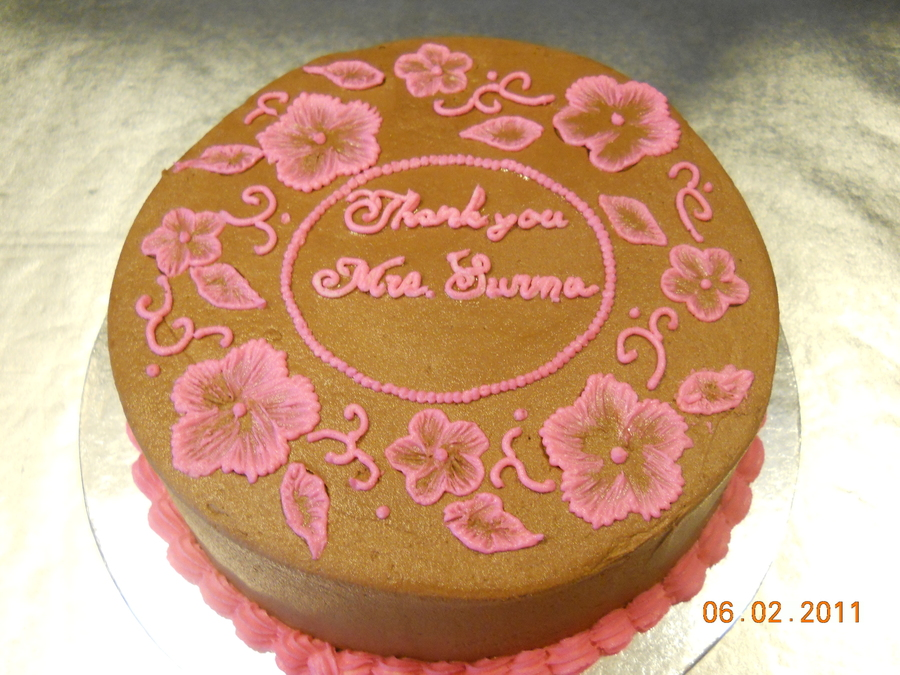 Brown With Pink Flowers on Cake Central