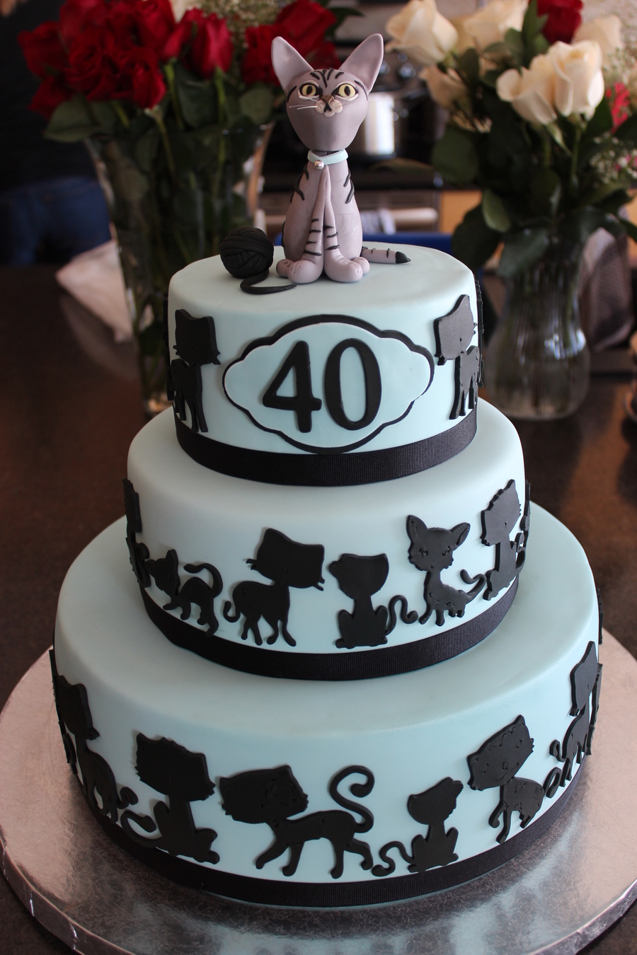 900 74812463sO 40th birthday cake client requested that the cake have 40 cats on it as well as the topper that resembled the family cat Birthday Cake Ideas For  Year Old Woman